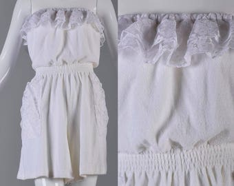 49a6c5606bb7 Large Sexy Romper White Jumpsuit Terry Cloth Playsuit Shorts Jumpsuit  Strapless Lace Beach Cover Up Play Suit Playsuit Casual Pool Vint