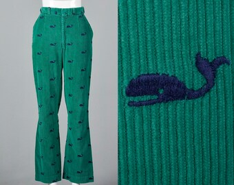 XS Green Corduroy Pants Blue Embroidered Whales Pockets Bell Bottoms Womens  1970s Vintage Bellbottom 045c915bfa