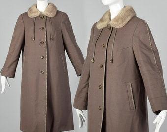 Taupe Vintage Coat 1970s Glam Princess Coat Trentch Overcoat 70s Fur Collar Real Fur wool Winter Pinup Size mediumlarge