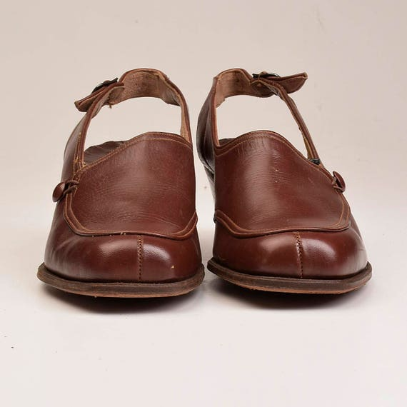 7 Square Toe Brown sz Leather 5 Closed 70s Casual C Vintage Asmmetric Slingback Shoes dRxaF4nx8