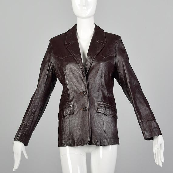 Medium Brown Leather Jacket 1970s Western Blazer B