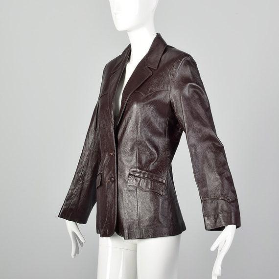 Medium Brown Leather Jacket 1970s Western Blazer … - image 3