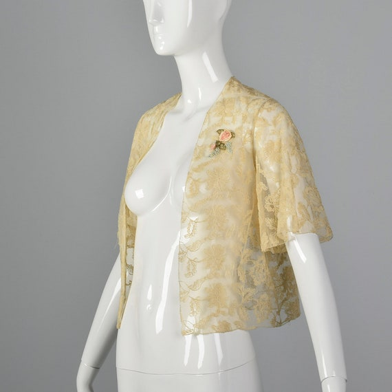 Small Lace Jacket Floral Embroidery Ribbon Flower Short Sleeve Vintage 90s Victorian Revivial Ivory Sheer Tulle 1990s Summer Top