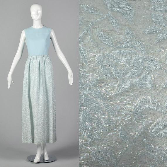 Small 1970s Blue Maxi Dress Metallic Skirt Sleevel