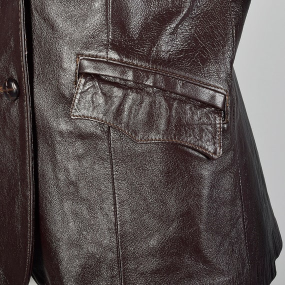 Medium Brown Leather Jacket 1970s Western Blazer … - image 7