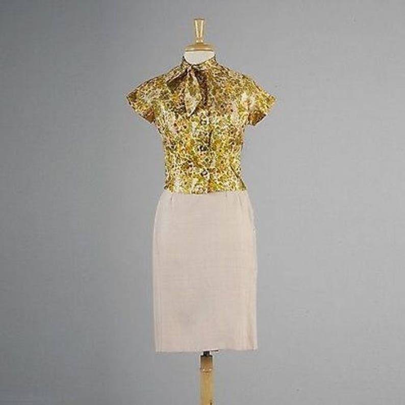 XS Skirt Suit Business Separates Silk Separates Skirt Jacket Blouse Vintage 1960s