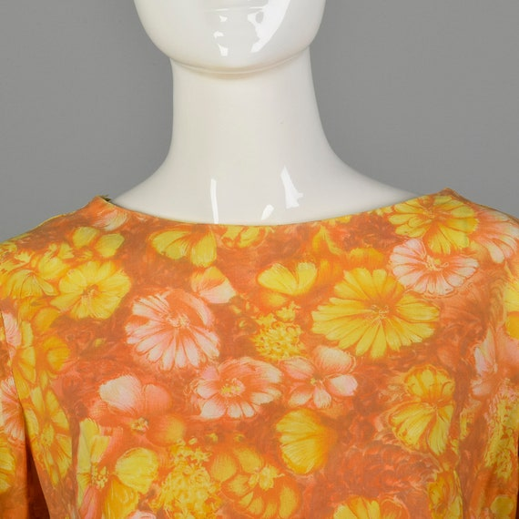 Large 1960s Orange Top Hippie Floral Boho Trumpet… - image 5