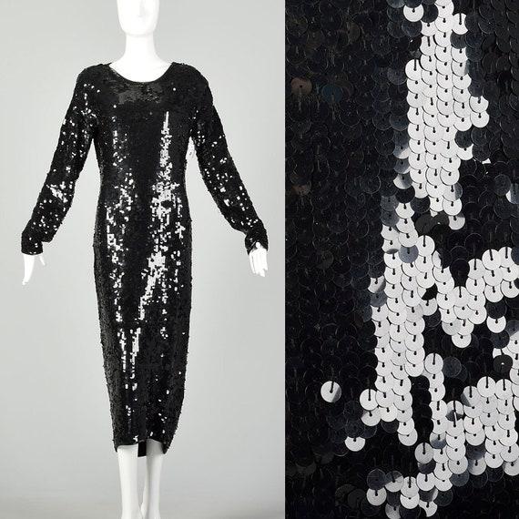 Large Black Sequin Sweater Dress Modest Long Sleev