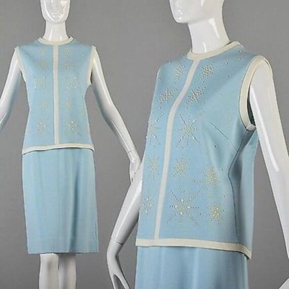 Medium 1960s Knit  Suit 60s Skirt Suit Baby Blue K