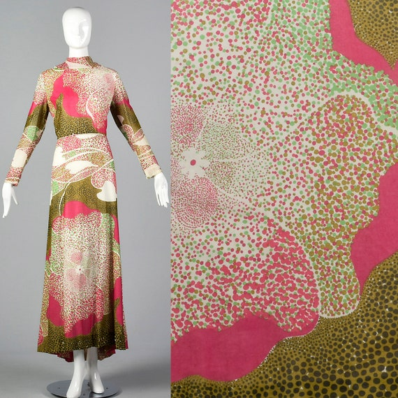 Neck Skirt Sleeve Floral Large Pink Maxi Brown Long Print 70s Dress Maxi Green Dress 1970s Print High Vintage Bohemian xzwZzXqAnP