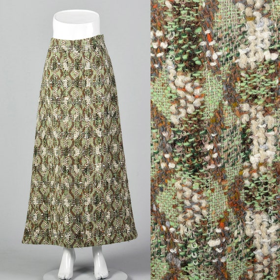 Small Homemade Wool Tweed Maxi Skirt Unique Green