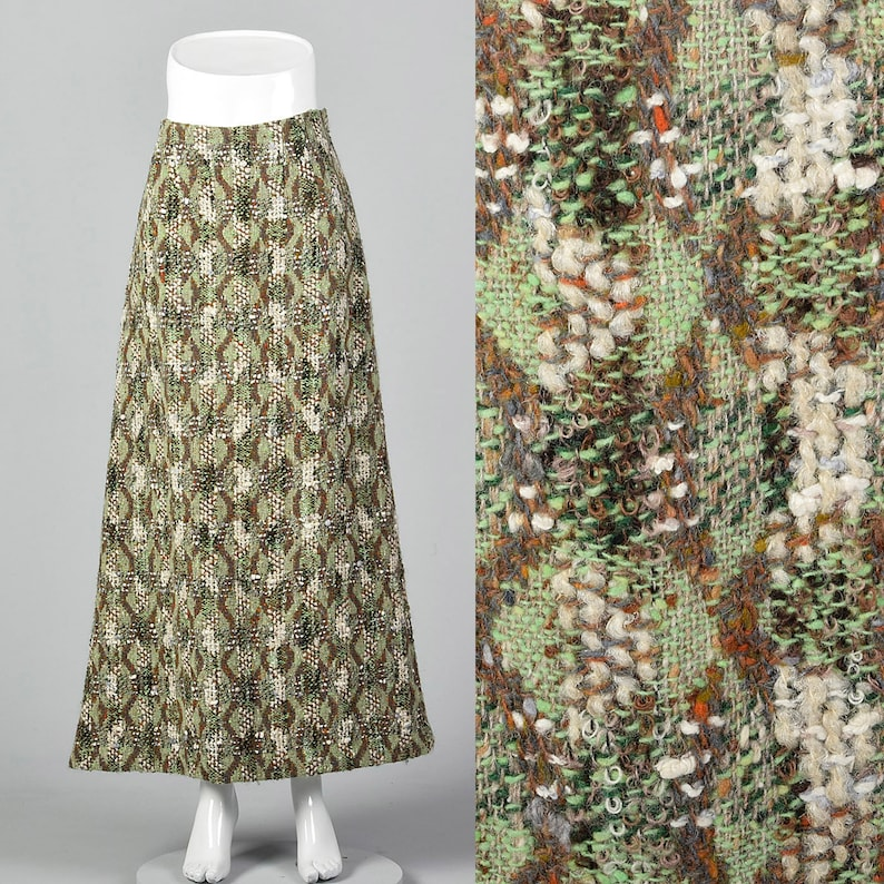 915c75394b Small Homemade Wool Tweed Maxi Skirt Unique Green Brown | Etsy
