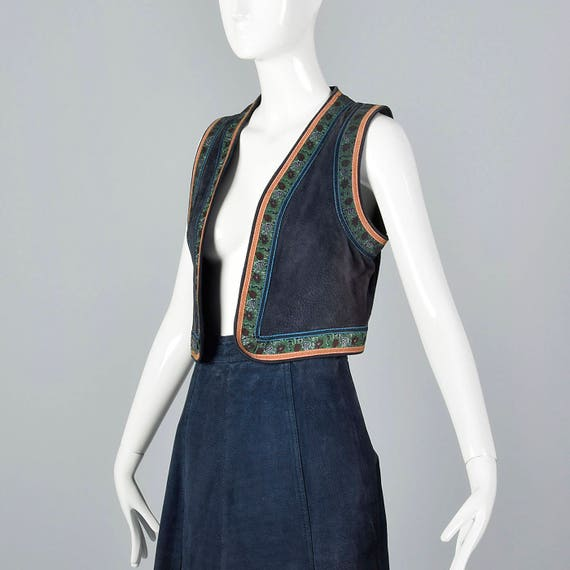 Separates 1970s Boho Hand Leather Style Separates Vest Midi Vintage Small Bohemian Painted Autumn 70s Skirt and nI6Xdq