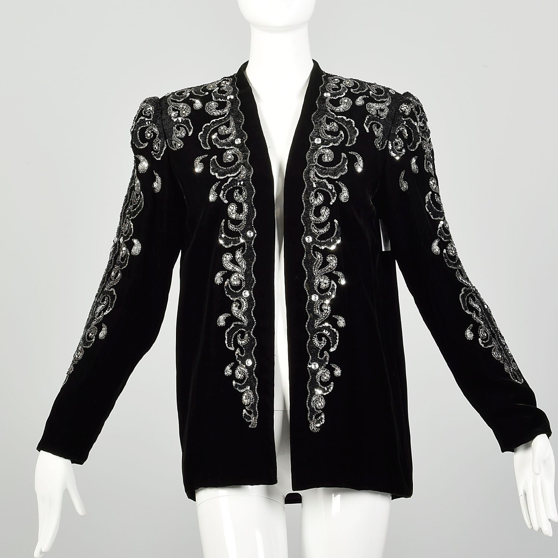 80s Dresses | Casual to Party Dresses Medium Black Velvet Jacket 1980S Silver Sequin Evening Dress Coat $0.00 AT vintagedancer.com