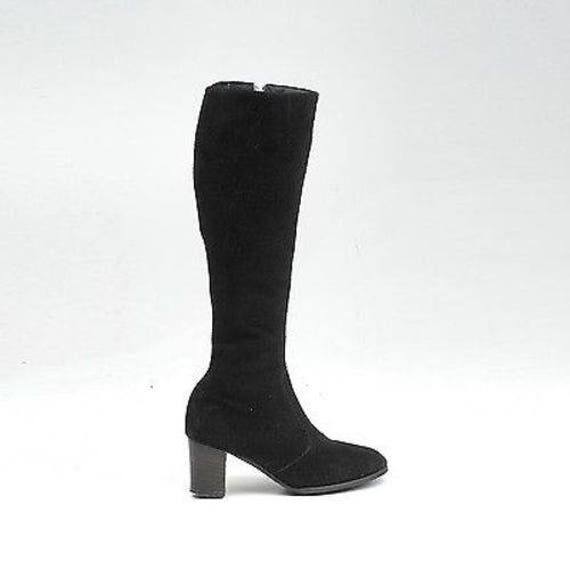 Heel High Black Boots Black Ankle Slim Calf Boots GoGo Knee Zip Vinatge Bo sz 6 Suede GoGo 1970s Suede Scooter Boot 70s Leather Leather 0HA1FA8