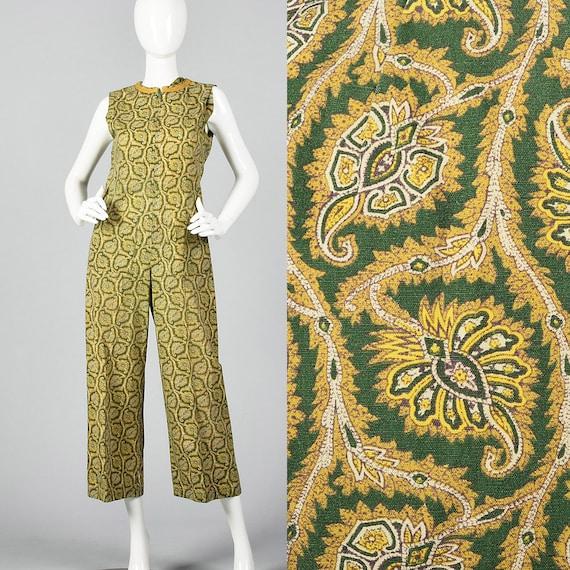 Small Green Print Jumpsuit Gold Leaf Pattern Sleev