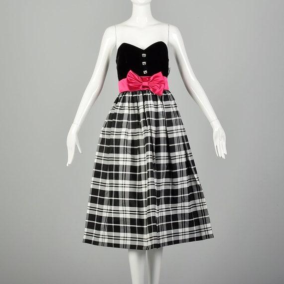 XL 1980s Prom Dress Strapless Black Velvet Plaid F