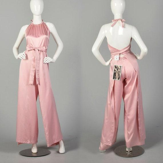 1980s Jumpsuit Pink Satin Wrap Halter Top Harem Pa