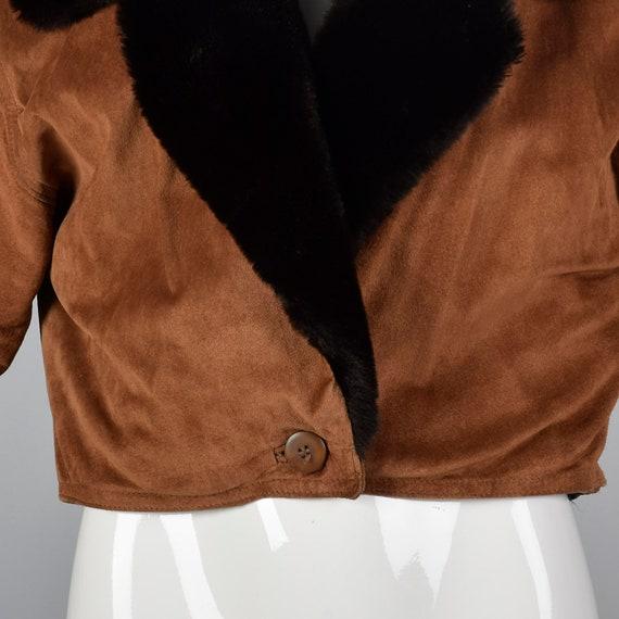 Jacket Fur Vintage Jacket 1980s Brown Autumn Leather Brown Suede Coat 80s Medium Faux Trim Cropped Outerwear SYq8FZ