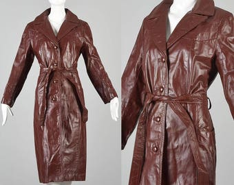 Small 1970s Leather Trench Coat 70s Oxblood Leather Coat Vintage Leather Trench Coat Outerwear Outer Wear Reddish Brown Leather Trench Coat
