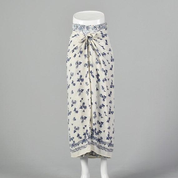 XS Blue and White Maxi Skirt 1990s Bohemian Boho F
