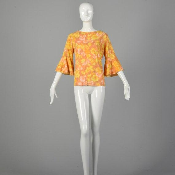 Large 1960s Orange Top Hippie Floral Boho Trumpet… - image 4