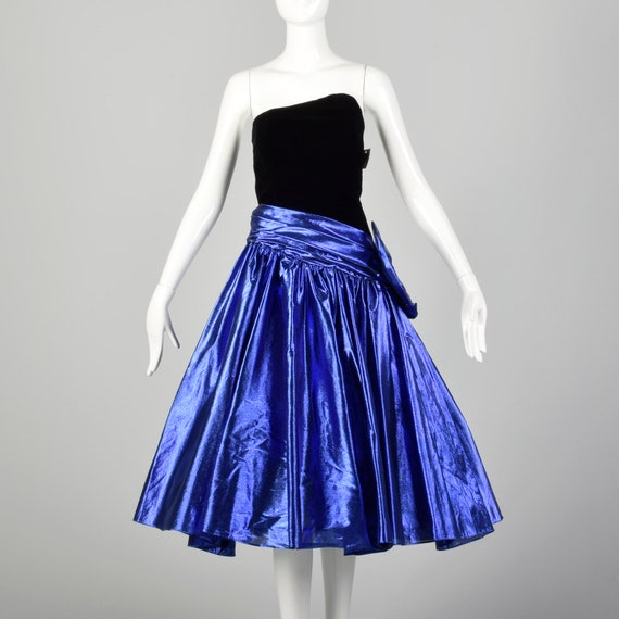XXS 1980s Blue Lamé Prom Dress Asymmetric Straples