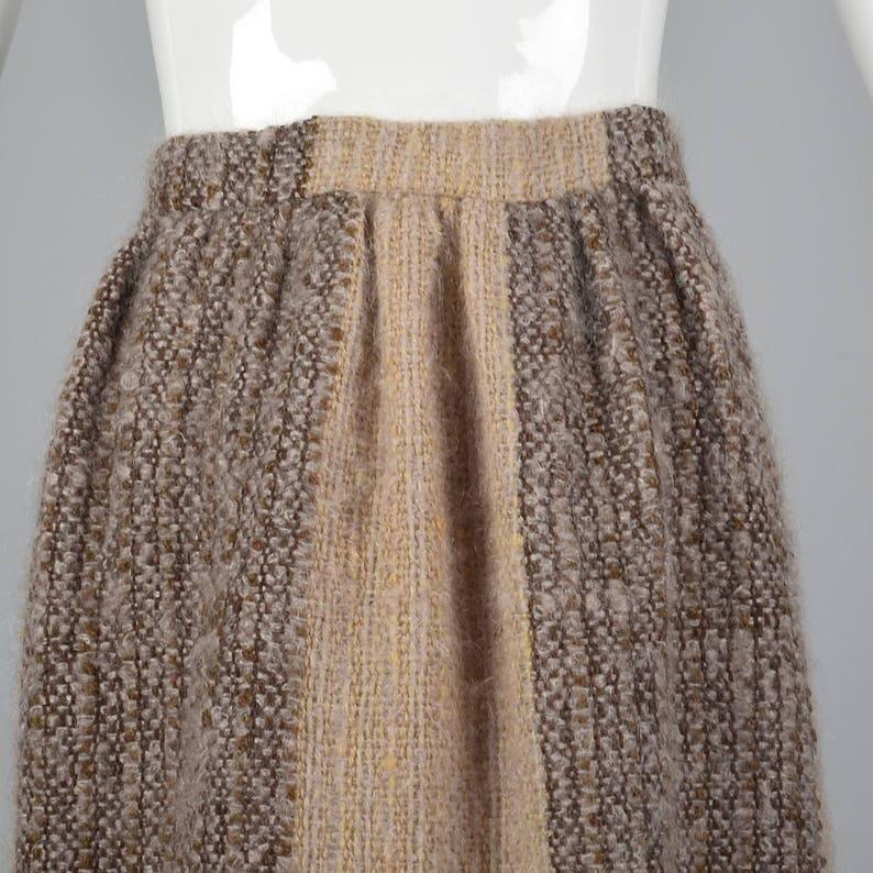 Small 1970s Tweed Maxi Skirt 70s Hippie Maxi Skirt Boho Maxi Skirt Wool Mohair Stripe Skirt Boucle Natural Brown Winter Vintage Maxi Sk