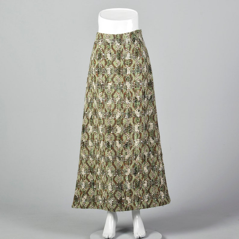 Small Homemade Wool Tweed Maxi Skirt Unique Green Brown Vintage 1980s Long Skirt