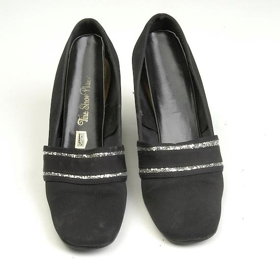 60s 1960 Grosgrain Shoes Court Black Black Heel Pumps Vintage Chunky MOD Rounded 6 Silver Glitter Shoes Short sz Toe F8qtww