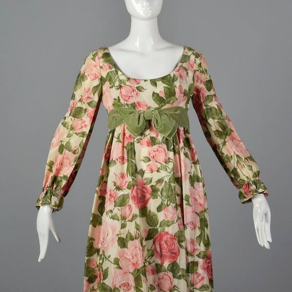 Waist Length Prom Formal Maxi Empire 1960s 60s Dress Vintage Full Dress Modest Dress Evening Long Sleeve Dress Medium Spring g8qwXx