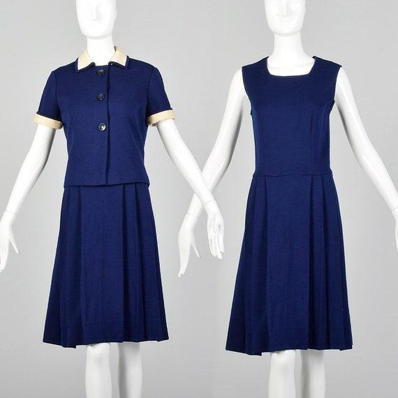 XS-Small Blue Dress Set 1970s Navy Two Piece Wool