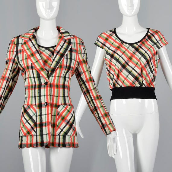 Large Two Piece Separates Vintage 1970s 70s Plaid
