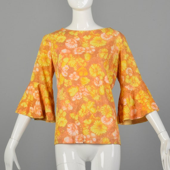 Large 1960s Orange Top Hippie Floral Boho Trumpet… - image 10