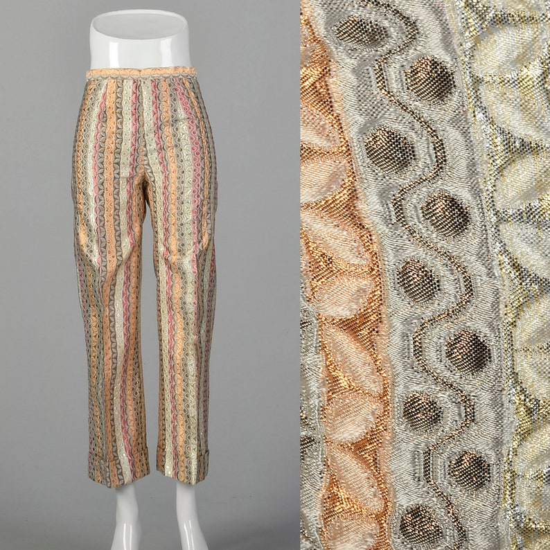 XXS  Metallic Pants 1970s Gold Silver Copper Red Stripes Textured Weave Wide Leg Trouser High Waited Pants