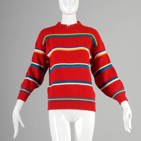 1980s sweater 1980s RAINBOW Sweater...orange striped crop sweater crop top retro colorful rad green fun bright red rainbow