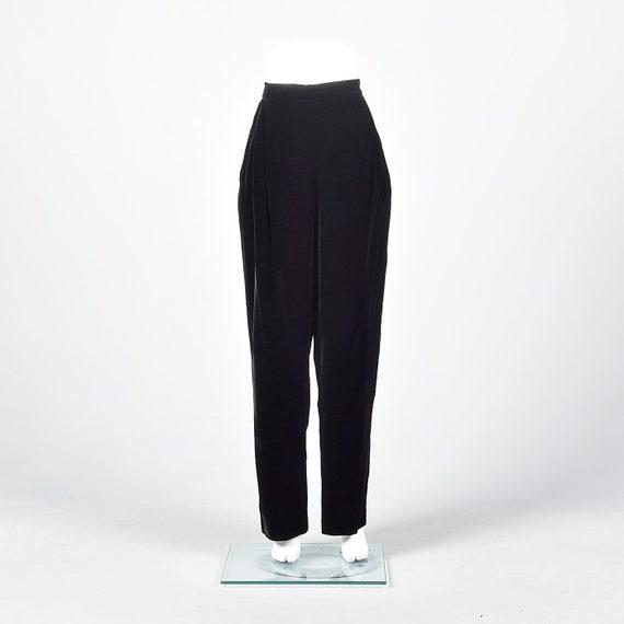 Medium 1990s Black Velvet Trousers Vintage Black V
