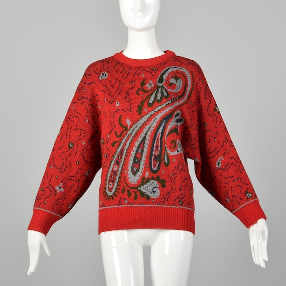 Small 1980s Red Sweater Oversized Wool Paisley Pat