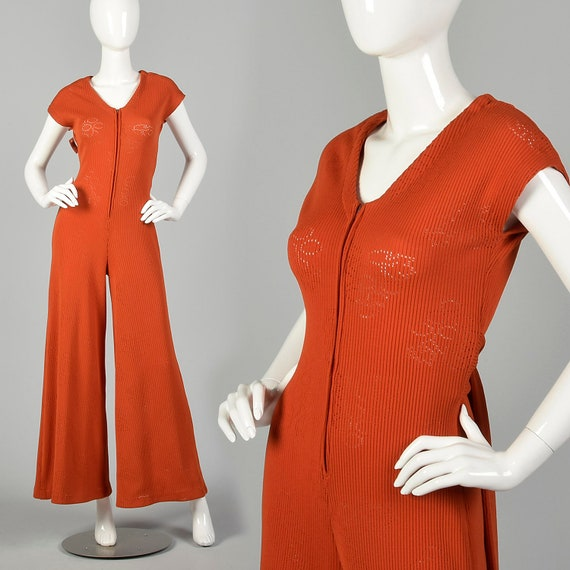 Small 1970s Jumpsuit Wide Leg Orange Ribbed Knit Z