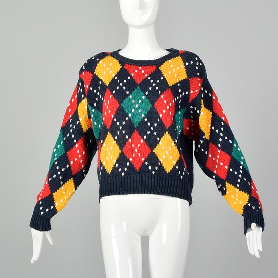 Large Navy Argyle Sweater Preppy 1980s Argyle Medi