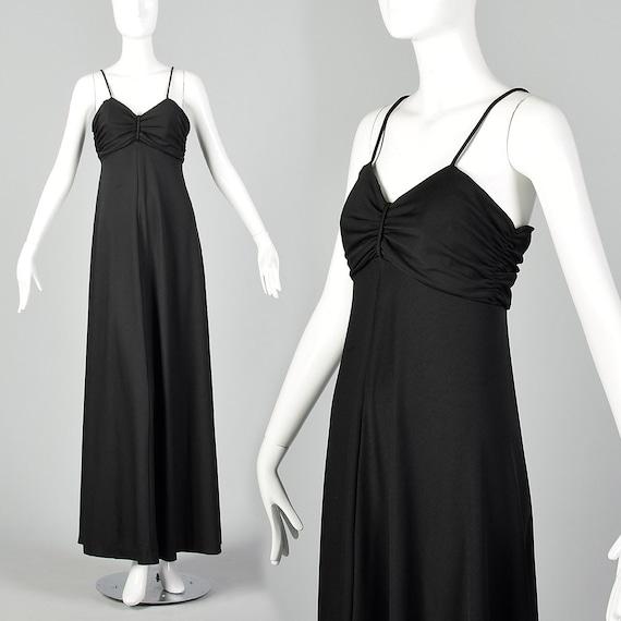 XXS 1970s Black Maxi Dress Vintage Spaghetti Strap