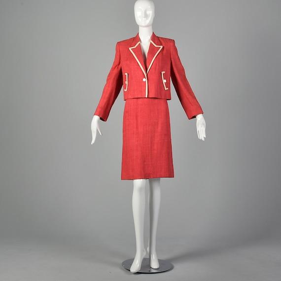 Large 1980s Red Linen Skirt Suit Vintage Skirt Su… - image 2