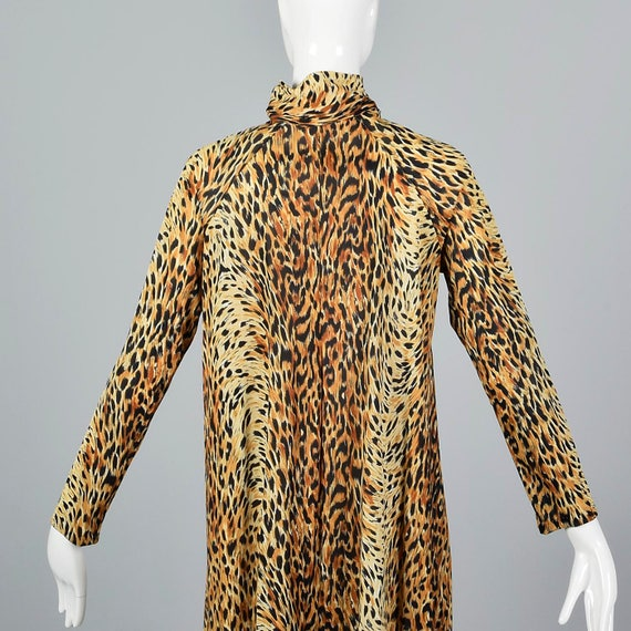 Summer Sleeve Robe Large Zip Animal Front Leopard Silky 70s 1970s Vintage Robe Print Long Print Nylon Flowy wqqxEHrZt