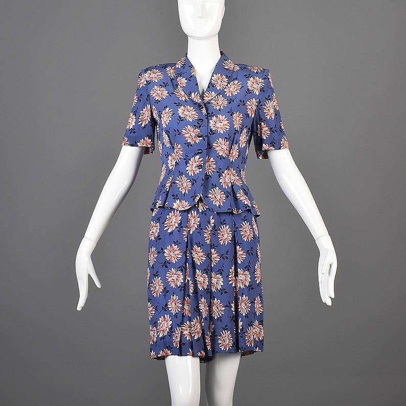XS Separates Skort Blouse Floral Separates SummerOutfit Split Skirt Blouse Fitted Waist High Waist Pink Blue Short Sleeve