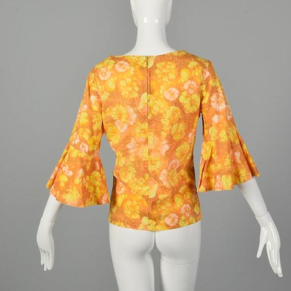 Large 1960s Orange Top Hippie Floral Boho Trumpet… - image 3