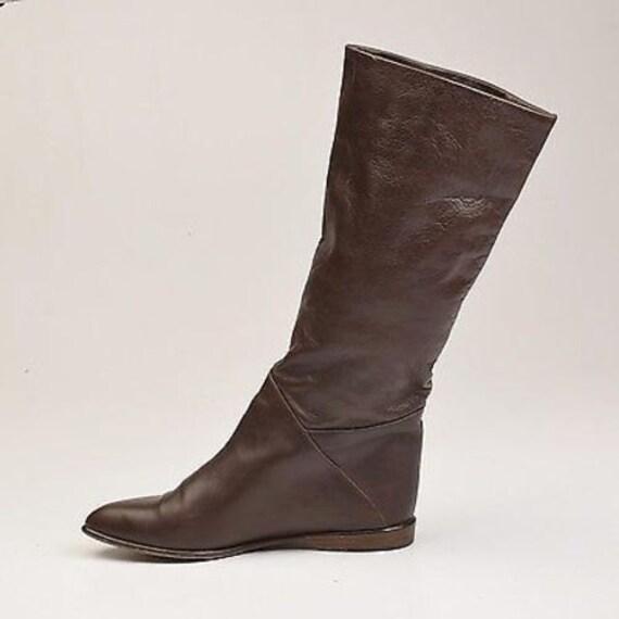 in Pirate 1980 bottes bottes cuir Casual s bottes italiennes s 80 Vint en bottes marron bottes bottes bottes cuir sz7 Slouch Italie manchette plat Made Hndq0wAZH