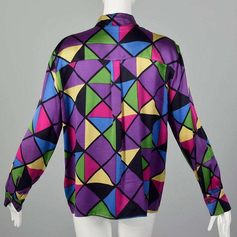 Large Vintage Blouse Geometric Silk Blouse Vintage Colorful Blouse Vintage Silk Rainbow Shirt Long Sleeve Top