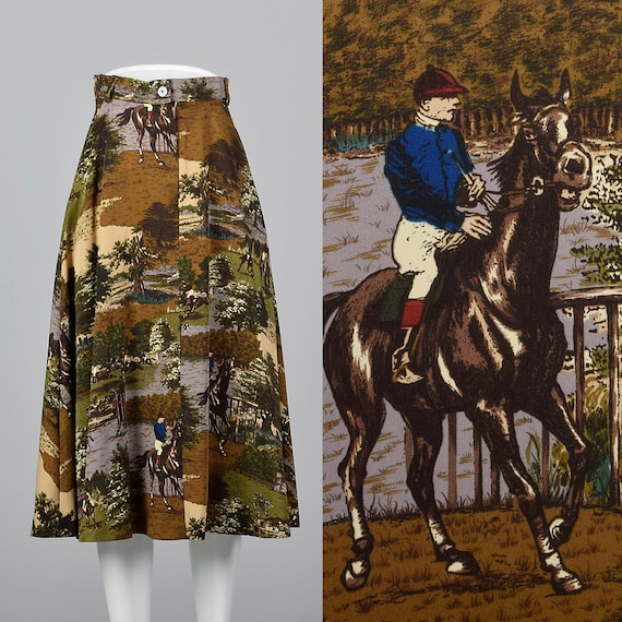 XS Novelty Print Skirt Horse Theme Pockets Equestr