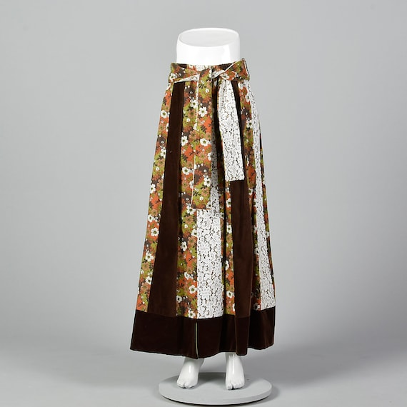 Medium Brown Skirt Floral Maxi 1970s Lace Long Ski