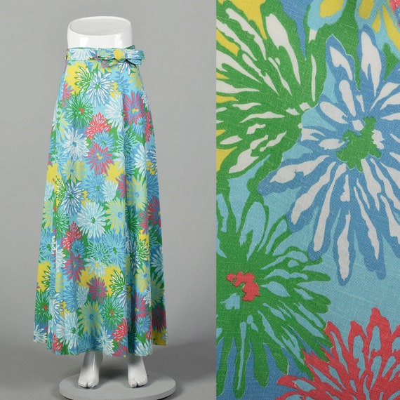 Medium Blue Wrap Skirt 1970s Maxi Green Floral Pri